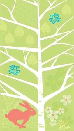 Voorjaar, gestileerde boom met een konijntje en vogels Stock Illustratie