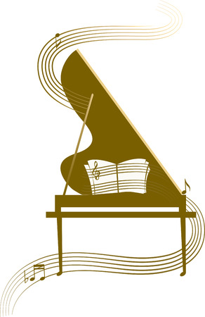 concert grand: Grand piano, classic music Illustration