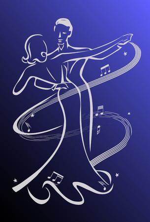 Dance night, ballroom dancers Vettoriali