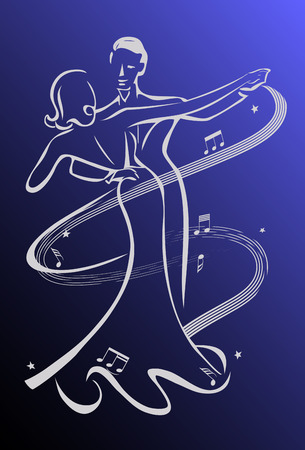 Dance night, ballroom dancers Illustration