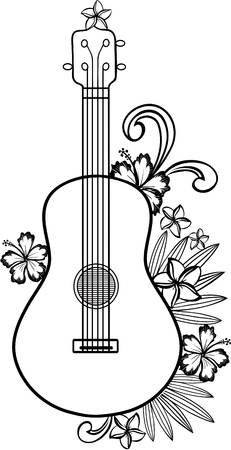 Ukulele guitar with Hawaiian flowers