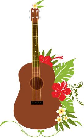 guitarra ukelele con flores tropicales Ilustración de vector