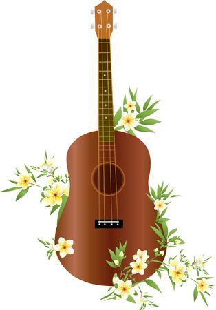 Ukulele gitaar met Hawaiiaanse bloemen Stock Illustratie