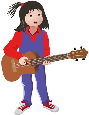 playing guitar: Girl singing and playing guitar