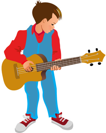 Jongen spelen gitaar  Stock Illustratie