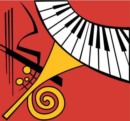 brass wind: Stylized Musical Instruments, concert announcement