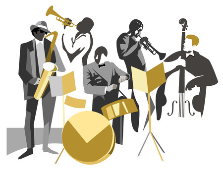 Jazz band on a white background Stock Illustratie