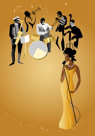 cantante de jazz negro y músicos Ilustración de vector