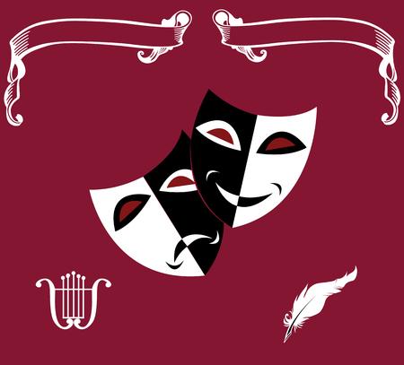 연극 아이콘 : 가면, 거문고, 깃털, 두루마리