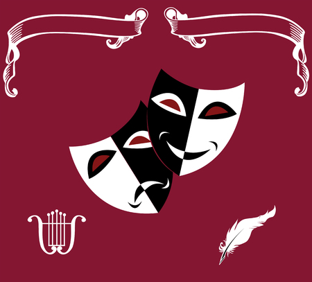 Theatrical icons: masks,lyre, feather, scrolls