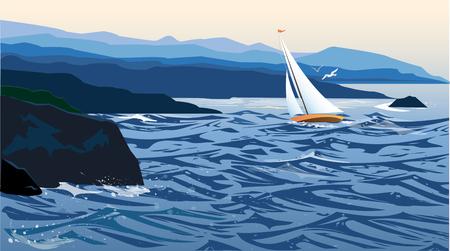 voilier ancien: Seascape avec un bateau à voile Illustration
