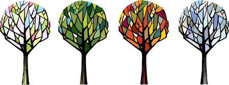 cuatro elementos: árboles estilizados en diferentes sasons