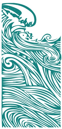Sea waves vertical background Ilustração