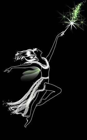 Fairy with a magic wand Ilustração