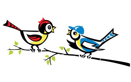 Twee vogels bespreken nieuws