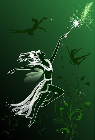mysterious: Flying Fairies on a green floral background Illustration
