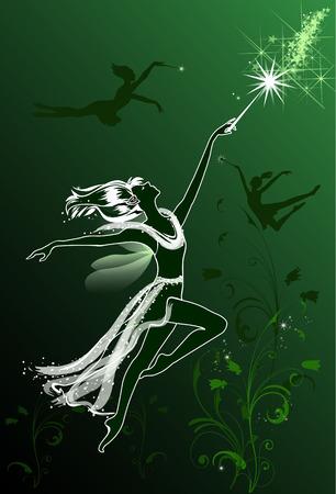 Flying Fairies on a green floral background Ilustração