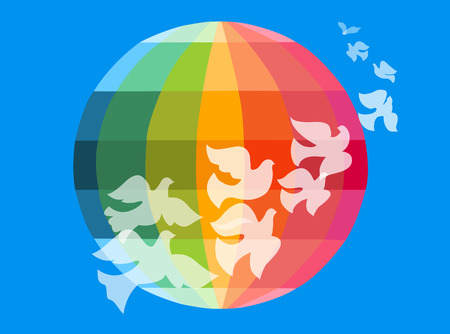 colourful sky: Doves flying around the globe