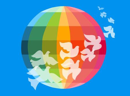 Doves flying around the globe