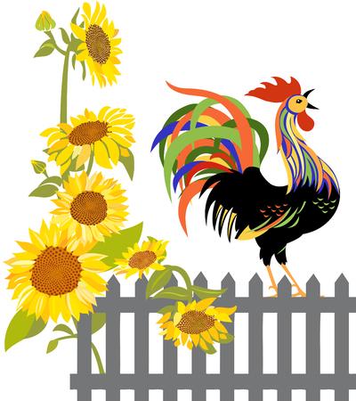 Rooster on a fence Ilustração