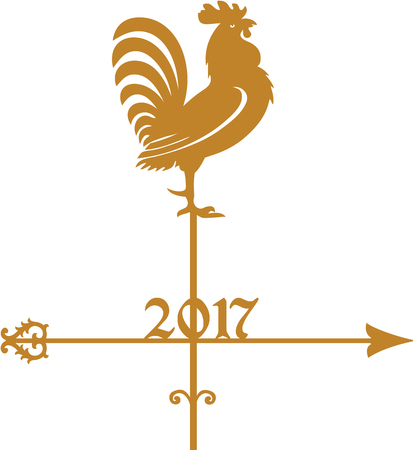 weathercock: Year of Rooster 2017, golden weathercock Illustration