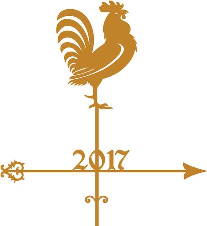 Year of Rooster 2017, golden weathercock Иллюстрация