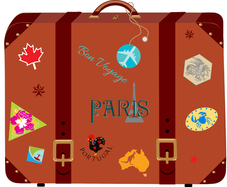 Vintage koffer met de reisstickers