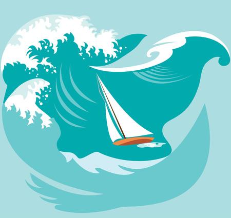 waves: Boat in waves Illustration