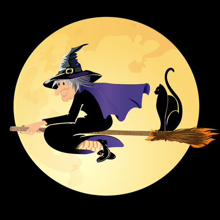 Halloween witch flying with a black cat