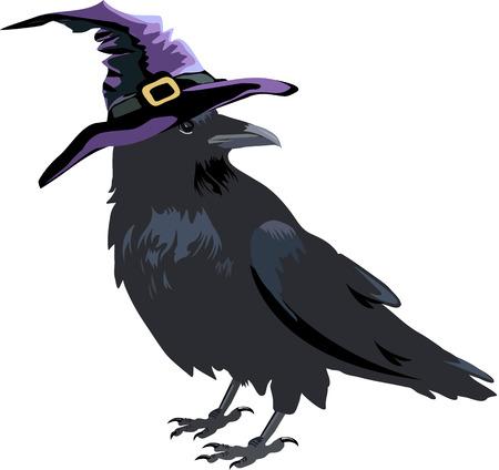 Halloween kraai in een heksenhoed Stock Illustratie