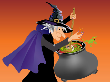 Halloween witch stirring brewing potion Stock Illustratie