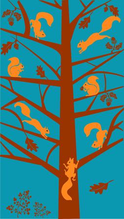 Gestileerde eik met eekhoorns