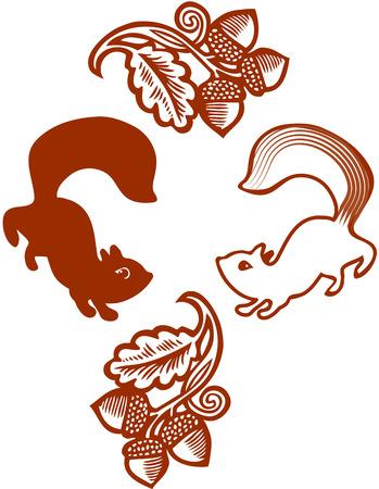 Gestileerde eekhoorns en eiken eikel takken