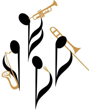 Music notes as jazz musicians and singers