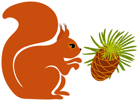 Squirrel with a pine cone 向量圖像
