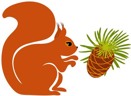 Squirrel with a pine cone Ilustração