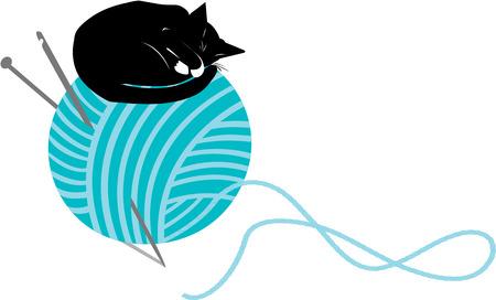 Katje van de slaap op de top van een grote breiende bal Stock Illustratie