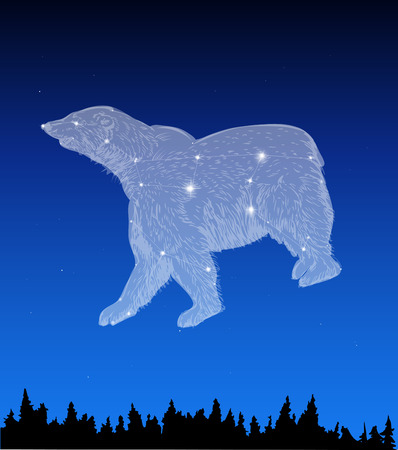 Nachtelijke hemel met Ursa Major Constellation Stock Illustratie