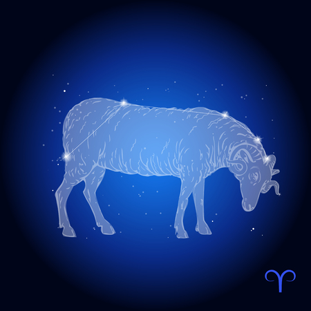 Aries Zodiac Constellation, astrologisch teken Stockfoto - 68033970