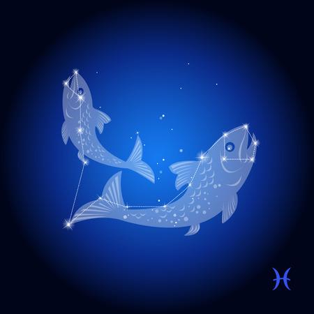 constelacion: Piscis constelación signo astrológico Vectores
