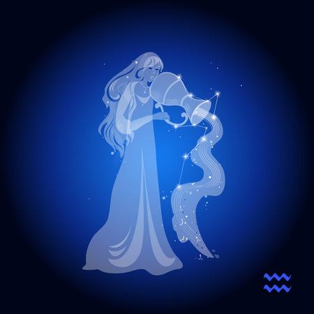 Aquarius figura femenina, signo Ilustración de vector