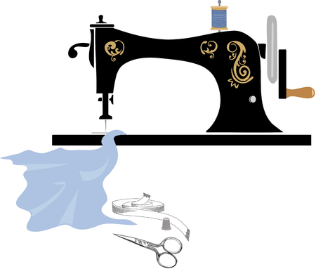 Retro manual sewing machine Illusztráció