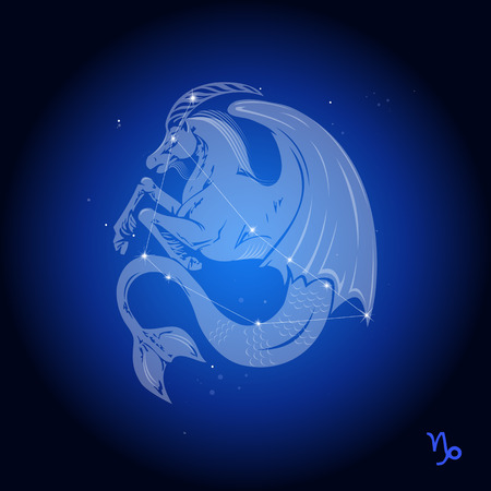 Capricorn sterrenbeeld, astrologisch teken Stock Illustratie