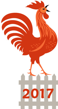 Red Rooster, symbol of year 2017
