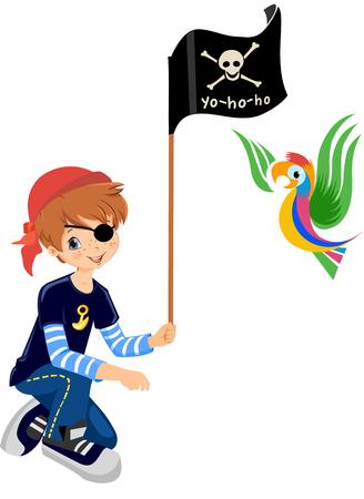 Piraat jongen met een papegaai, schatzoeken spel Stockfoto - 68656101