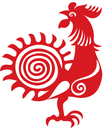 Stylized red rooster Stock Illustratie