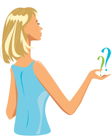 Muchacha rubia joven con los signos de interrogación Vectores