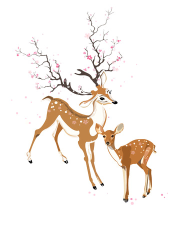 Imaginary deer & fawn in spring