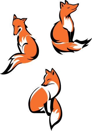 Fox sitting in different poses