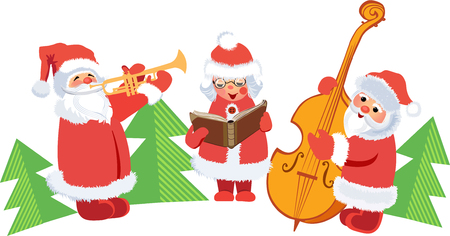 Christmas concert of Santa Clauses.
